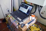 remotely controlled crane monitoring software running on in-site pc